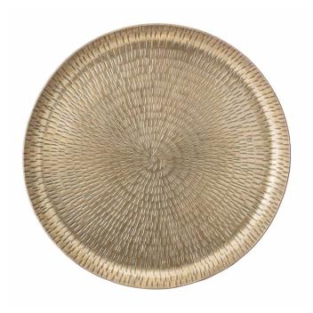 Plateau rond en Alu coloris doré Rustique avec motif