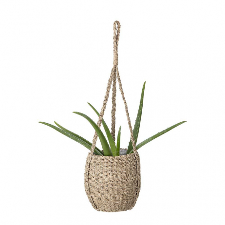 Panier cache pot à suspendre avec corde en herbes de mer
