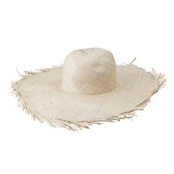 Chapeau en feuille palmier avec franges D. 45 cm Coloris clair