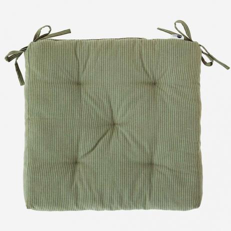 Coussin de chaise Coton Vert Jade rayures gris clair - Mme Stoltz