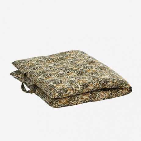 Sur-matelas motif floral coloris Moutarde, noir édredon en coton épais