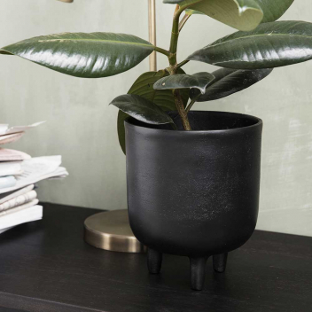 Cache-Pot pour fleur ou plantes en Aluminium noir oxydé, Bohème chic