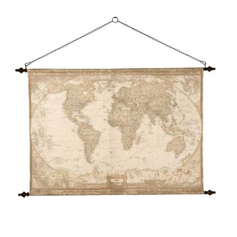 "Carte du monde format mural XXL ""GlobeTrotter"" en toile avec support métal"