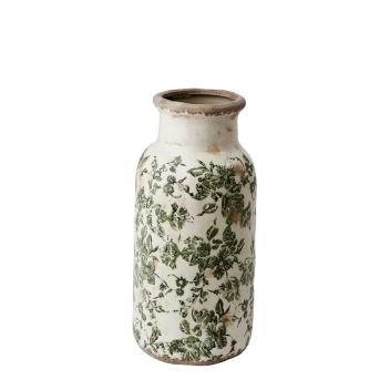 Vase pour plante ou fleur Victoria Vert en grès patiné style Bohème
