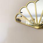 Miroir forme Eventail en Métal doré fait main