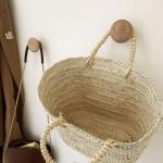 Panier Ovale en palmier tressé main avec 2 anses corde naturelle