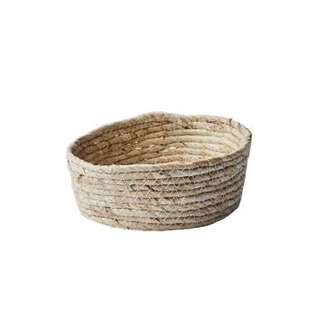 Panier naturel taille basse pour rangement en Feuilles de maïs - 3 Tailles