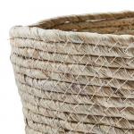 Panier naturel bas pour rangement en Feuilles de maïs