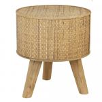 Petite Table d'appoint en rotin tressé avec pieds bois