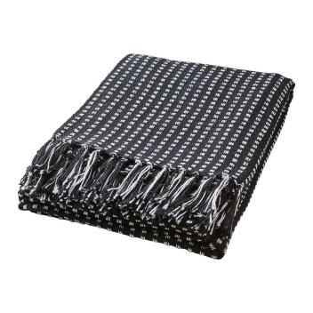 Plaid ou Couverture en Coton recylclé Noir et blanc 175 cm