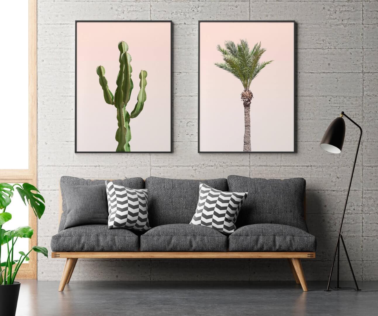 Cadre avec photo cactus et ambiance