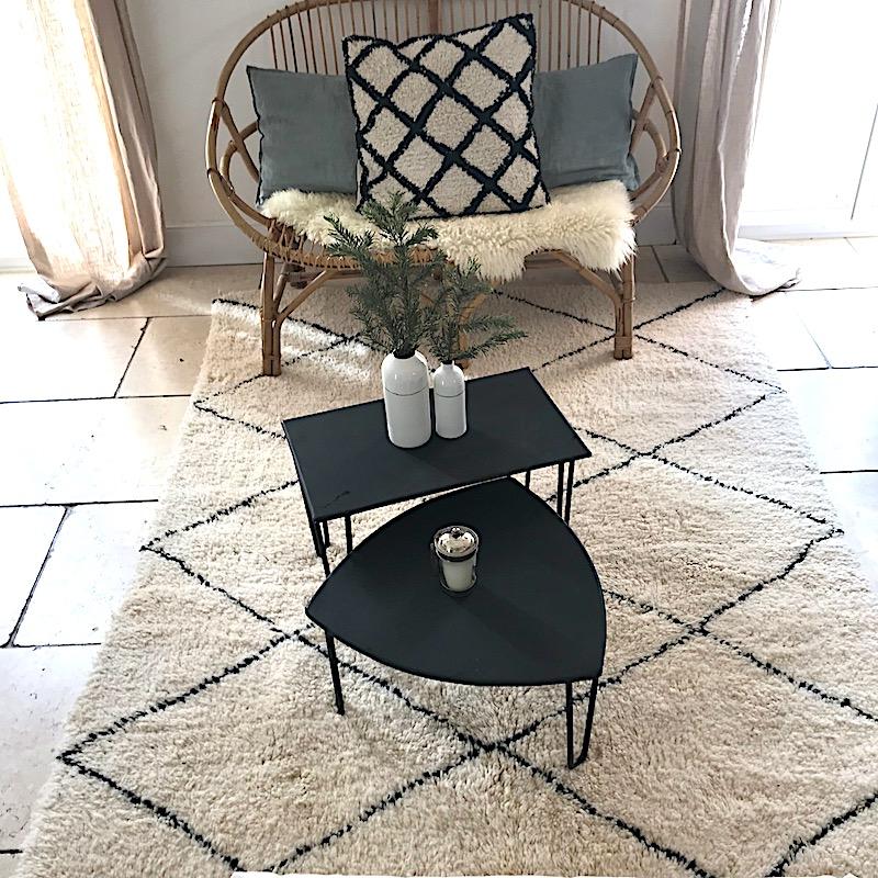 tapis beni ouarain blanc et noir maroc