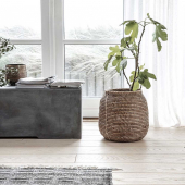 Un panier cache-pot en rotin foncé ✨idéal pour y glisser ses plantes vertes 🪴 ou tout simplement organiser son rangement ❤️ . . #decorationinterieur  #cachepot  #decoboheme  #panier  #homedecor