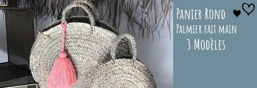 paniers palmier rond avec pompon