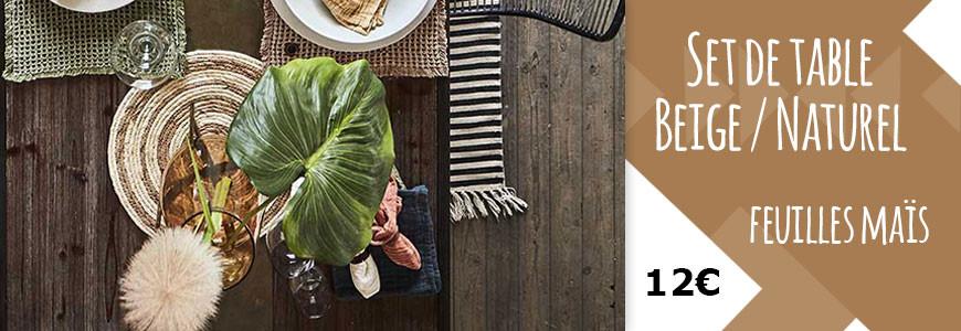Set de table Beige et Naturel rond en feuilles de maïs