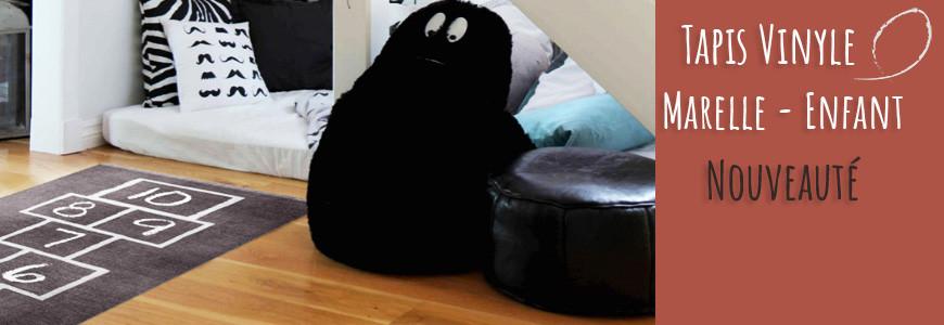 tapis vinyle marelle noire