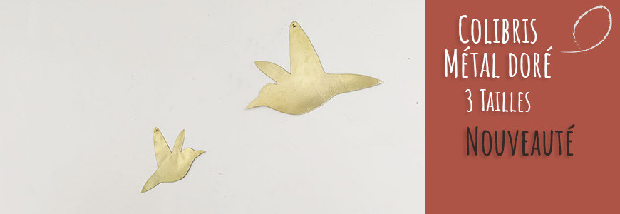 Colibri en métal doré
