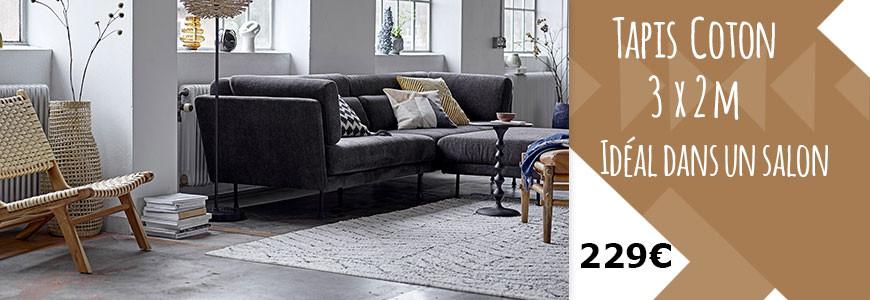 tapis XL en coton motif inspiré berbère